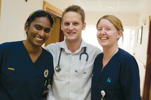 Doctor with nurses