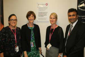 From left, Donation Specialist Renee Deleuil, Executive Director Kath Smith, Donation Coordinator Nicola Fletcher and Head of ICU Dr Ravi Sonawane.