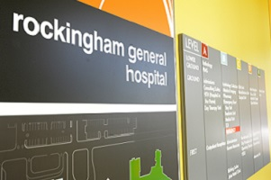 Rockingham General Hospital signage advising where services are located